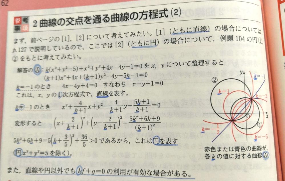 2曲線の交点を通る曲線の方程式についてお尋ねします。 5k²+6k+9を平方完成して >0としていますが、 平方完成にする理由があれば教えていただけないでしょうか。 一部のページだけ掲載しています。 もし必要な情報があれば教えていだきましたら、 掲載させていただきます。 よろしくお願いします。