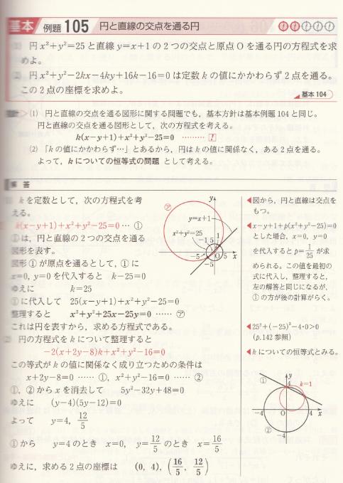 円と直線の交点を通る円についてお尋ねします。 (2)についてですが、 k=1のとき、円の方程式は (x-1)²+(y-2)²=5 より 円の中心は、(x,y)=(1,2) 半径√5でいいでしょうか。