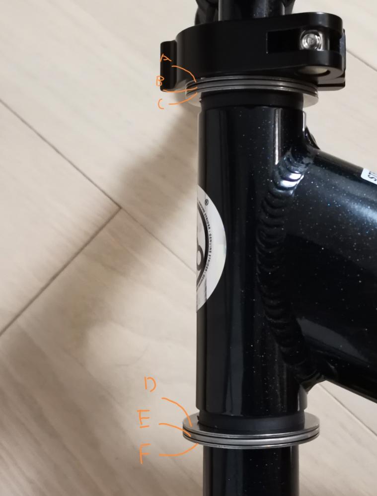 スラストコロ軸受ニードルベアリングの質問です。 ストライダー(キックバイク)のフロントフォークにニードルベアリングを装着し、ハンドリングの回転を良くしようとしました。 内径を図り装着しましたが、結構キツキツで装着してハンドルを回してもパーツ全てが同じように動き、ベアリングの効果をなしていないと思います。 イメージとしてはハンドルを切ると写真のAとDだけが回転するのが正しいのかなと考えているのですが、詳しい方おしえていただきたきです。 内径キツキツなのが原因だと思うのですが、AとDの内径を緩めるので正解でしょうか??
