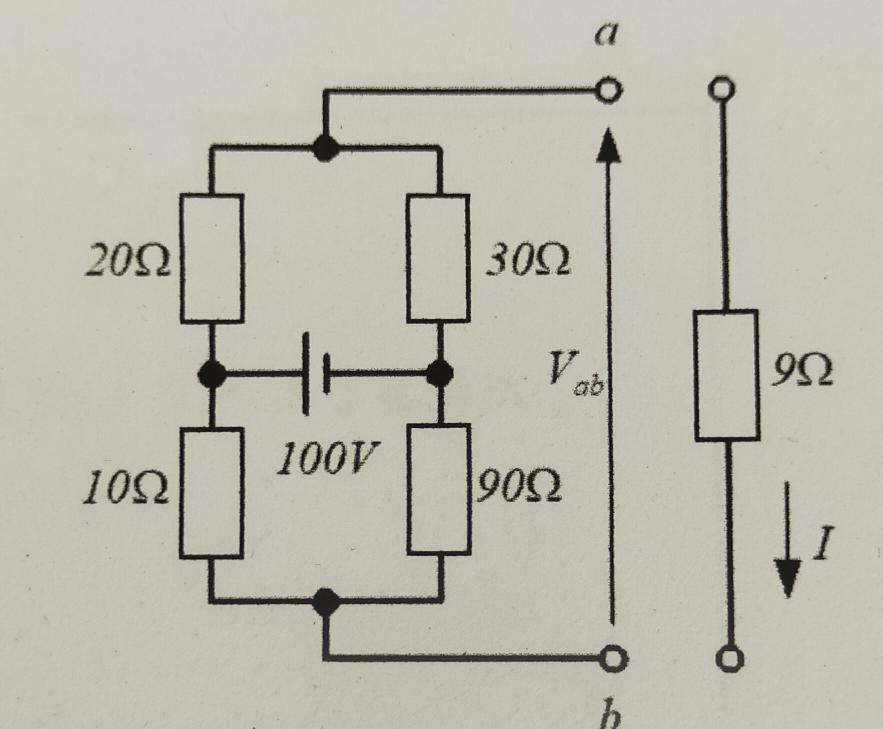 電気回路のテブナンの定理の問題です。さっぱり分からないので解説をお願いしたいです。 次の回路で端子abの開放電圧V_abを求め、負荷抵抗9Ωを接続したときに流れる電流Iをテブナンの定理により求めよ。 こちらの答えが、V_ab=-30、I=-1 となります。 宜しくお願い致します。