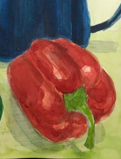 美術科の高校受験についての質問です。 見にくいと思うのですが、私は普段水彩の時このように鉛筆で描き込んでから色をつけていますがこれだと減点されてしまうでしょうか?また、鉛筆の描き込みは消してからの方がいいのでしょうか?
