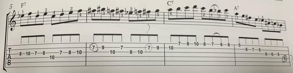 キー=Cのブルースで、フレーズを分析しているのですが、◯をつけたところがなぜコードに合うのかわかりません。それぞれ教えて欲しいです。