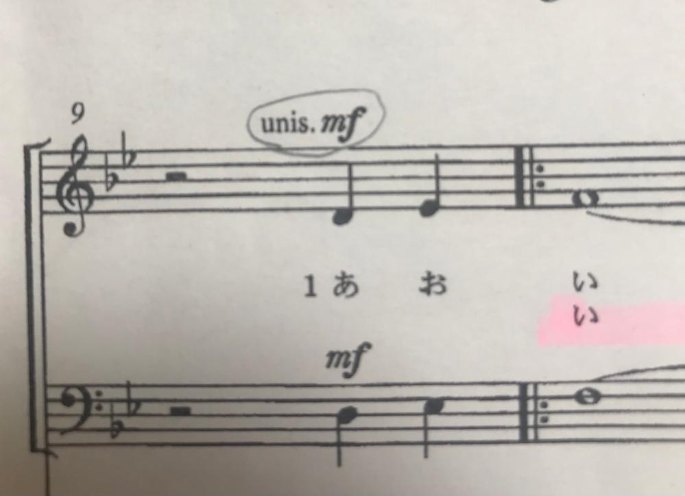 音楽の楽譜にある「unis.mf」の意味を教えてください!!