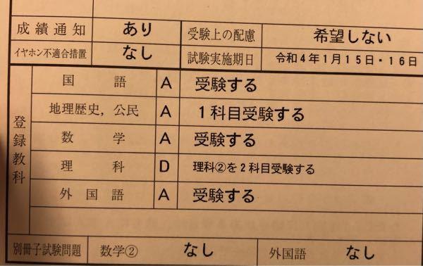 共通テストの申し込み控えについて。 別冊試験問題の数学②なし と外国語なし とはどういうことですか?