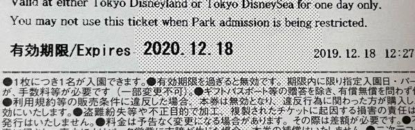 このディズニーチケットの有効期限が払い戻しなどの対象外なのですが、その場合は無効となりますか?