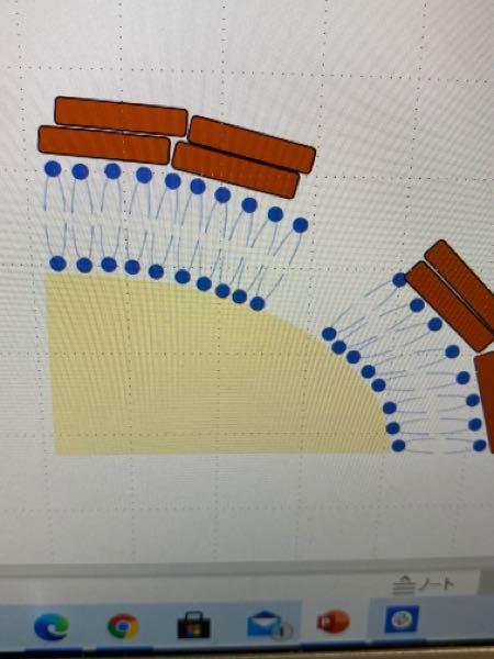 パワポでの図の作成に関して 写真のように並んでいる青色の図を薄黄色の図の曲線に合わせて手作業ではなく、綺麗に並べたいのですが、何かしら、自動的に図の配置を滑らかにする方法はありませんか?
