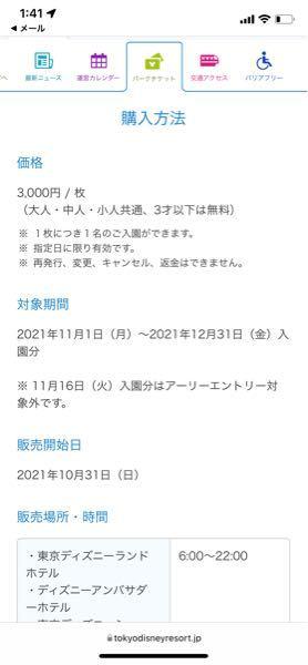 アーリーチケットなんですが12月6日に泊まって7日にディズニーの方に行こうと思うのですが、これはチェックアウトの日に購入して、金額も3000円で間違えないですよね?