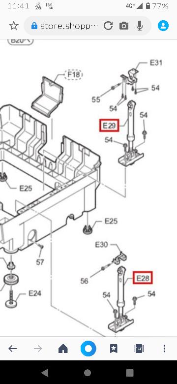 パナソニックのNA-VX7300Rという2014年製のドラム式洗濯機を愛用しております。 脱水時にカンカンと異音が発生するようになり、分解したところ定番のダンパーのブッシュの破損ではなく、ダンパー上部の取付ステーの破損でした。 ダンパーのブッシュは通販ショップなどでも売られているのを見かけますが、こちらのステーを見つけることができません。 保証も切れてますし、自分で直すので部品だけ欲しいのですが、どのようにすれば手に入れられますでしょうか? 家電量販店で買えますか? 画像のE31です。