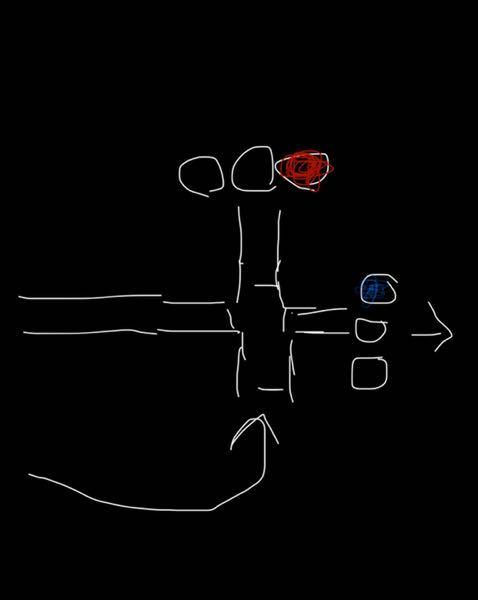絵が下手ですいません。 絵でいう青信号側に行きたいのですが この場合、青、赤 どちら側の信号に従えばいいのでしょうか?現在1段階の教習生です。