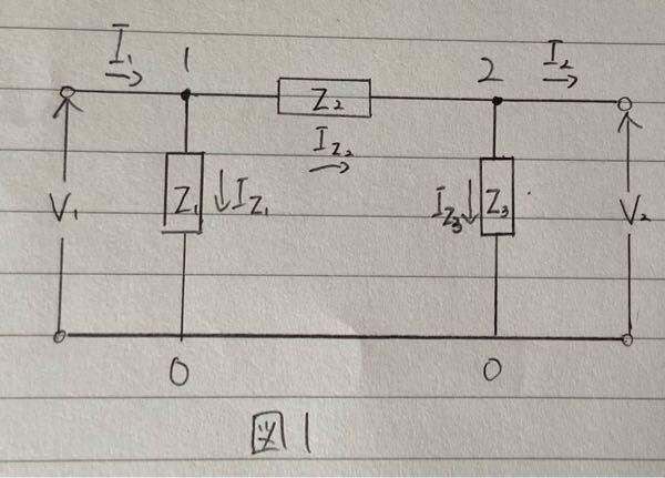 電気回路の問題です。この回路のFパラメータ(行列)の求め方と答えを教えてください。