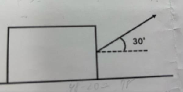 重力加速度は9.8とする (1)荒い水平面上に質量10kgの物体が置いてある。 この物体に水平方向に対して30°の斜め上方向に徐々に大きな力を加えていった。 1.20Nの力を加えたところ、物体はうごかなかった。 このとき物体と水平面の摩擦力はいくらか。 2.40Nの力を加えた所で物体は動き出した。物体と水平面との静止摩擦係数はいくらか。小数点以下第二位まで求めよ。 (2)荒い水平面上に質量5.0kgの物体をおき、水平方向に力f[N]を加えたところ、物体は動き出した。物体と荒い面との間の動摩擦係数を0.40とする。 1.物体を等速直線運動させるための力の大きさf[N]を求めよ。 2.物体を等加速度0.8m/s²で直線運動させるための力の大きさf[N]を求めよ。 わかる方いらっしゃりますか?学校で習ったのですが、分からなくて…長文すいません