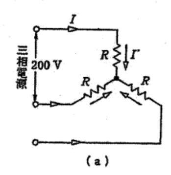 お世話になります。平衡三相交流回路に関する問題です。 図の回路について以下の問に答えなさい。抵抗Rを100Ωとする。 (1)相電流I'は何Aか。 (2)線電流Iは何Aか。 (3)相電圧は何Vか。 (4)消費電力は何Wか。 という問題です。 (1)(2)はそれぞれ1.6A、2<30°Aと求めることができました。(3)は115.5<30°Vですか?また(4)はcosθ=1なのでP=(√3)I Vですか?よろしくお願いいたします。