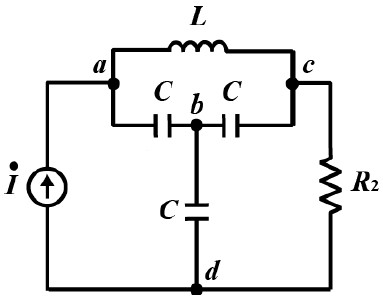 この電気回路の問題を教えて下さい。 図の回路において、次の問に答えよ。 ① 節点をa,b,c,dの4点とし、dを基準電位(=0V) とした時の節点方程式を立てよ。 ② Rに流れる電流が0となるω...