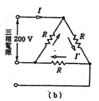 【至急です】お世話になります。三相交流回路の問題でご質問があります。 図の回路について以下の問に答えなさい。抵抗Rを100Ωとする。 (1)相電流I'は何Aか。 (2)線電流Iは何Aか。 (3)相電圧は何Vか。 (4)消費電力は何Wか。 という問題です。 解説、よろしくお願いいたします。