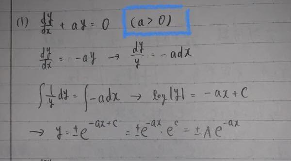 数学の微分方程式の変数分離形の問題で質問です! 写真の問題について、青枠で囲ってる条件式を無視して解いたのですが、条件式をどのように適応させるのかわからないので教えてくださいm(_ _)m ※最後eのC乗をAとおいてます。