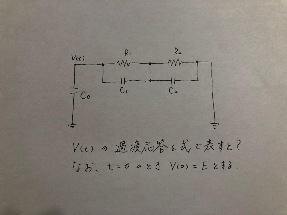 当方、回路方程式に疎いため皆様のお力をお借りしたいです。 図のV(t)の過渡応答を先で表したいのですが、どのような式になるでしょうか? なお、t=0のときV(0)=Eとします。