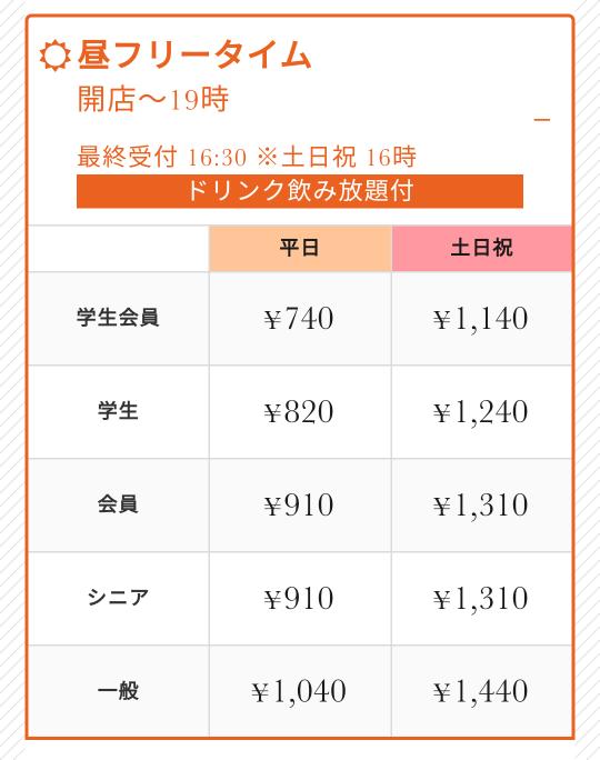 ジャンカラで11時から16時まで利用しようと思っていて平日に行くので平日料金で910円だけ払えばいいですか?
