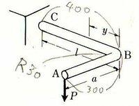 材料力学でわからない問題があります。 片側固定のL字型の水平片持ち梁があり、その自由端の先端に19.8Nの垂直荷重が作用している。断面の長さは縦と横ともに10mmの正方形で、固定端からL字の角までが400mm、その...