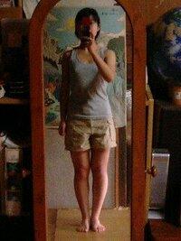 この体型…どう思いますか? 高2の女です。  私は写真のような体型です。 身長 156.5cm 体重 49~50kg 体脂肪率 23~24%  スカートやワンピースは一着も持っていません。 パンツも10分丈で、レギンスなど...