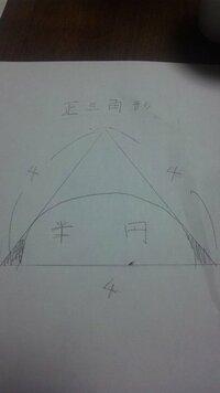正方形と半円があって斜線部分の面積を求めたいのですが、解き方の解説を教えて下さい。