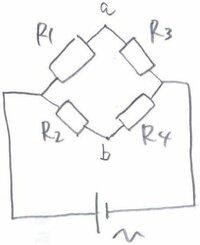 ブリッジ回路の解き方について この回路で、Aの電位とBの電位が等しい(ブリッジ回路のバランス条件を満たす)時を考える。  Ⅰ、電源電圧V=179.5[V]、抵抗R1=6.1[kΩ]、R2=7.1[kΩ]、R3=5.2[kΩ]のとき、抵抗R4...