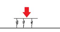バネ フックの法則 添付している絵を見てください  図のようにばね定数kのバネの上に台が乗せられていて そこに490Nの力が働いている この台は何m縮むか  思ったんですけど これって台の面積がわからない...