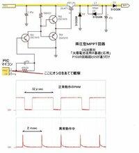 ★太陽電池・降圧型MPPT回路が上手く動きません。 CQ出版社「太陽電池活用の基礎と応用」を買いまして、 P103にある降圧型MPPT回路を作りました。 (画像を下に示します)  負荷をかけずに(電池に充電しない状態)なら上手く動きます。 しかし充電するため電流が流れると、異常な動作をします。 (画像に、正常にPMWされているオシロの波形と、  異常動作している波形を示します)...