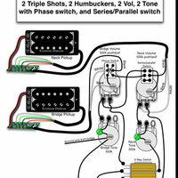 ギターの配線についての質問です  写真の配線図なのですが、ピックアップから出ている線が接続されている、基板のようなものは何ですか?  また、シリーズ・パラレルとあり、直列・並列と、意味はわかるのですが ...