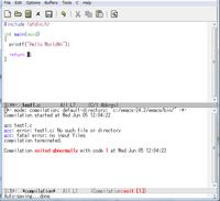 Emacsでコンパイルしたいのですが、こうなってしまうのですがどうすればいいんでしょうか?