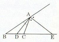 「線分AEが∠Aの外角の二等分線なら、AB:AC=BE:EC」をわかりやすく説明してください。 あと、合わせて覚え方も教えてください。