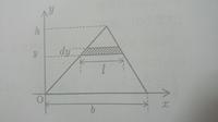 底辺の長さb、高さhの三角形断面の、底辺を含むX軸に関する断面二次モーメントIxを求めて下さい。