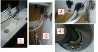 トイレ手洗い水栓のフレキ管交換のアドバイスお願いします。  添付ファイルの写真①のようなトイレの水栓の下(収納スペース)に、②のような感じでフレキ管が接続されています。 フレキ管穴が開いて水漏れしてしまったので、水漏れ用の自己融着テープのようなもの(写真②③の上部の黒い部分)で補修したのですが、最初のうちは良いもののしばらくしたらすぐに水漏れが始まってしまうので、フレキ管を交換したいと思...