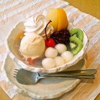 こんにちは。  白玉あんみつには、アイスクリームは何個のせますか? 種類もお願いします。