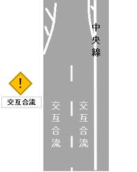 車線減少箇所において、 図のような道路標示の描き方をすれば、 車の流れはどうなるでしょうか??? 車線減少となる箇所まで、有効に使えて合理的でないかという提案です。  (一般道路で、最高速度40km/...