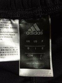 adidasのジャージにこのようなタグが付いています。これは多分、Jの下にLとあるので日本規格のLサイズですよね?ここのUKやUSはわかりますが他のF,D,I,E,CDNはどこの国ですか?