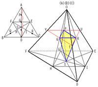 三角錐の問題、回答を書いている間にご質問が解決済みになって しまいましたので、このような形にさせていただきます。 2度のご質問でしたが、寄せられた回答はいずれも勘違いされている と思います。 問題を正しく読み取れば、答えは引用なさった模範解答が正しい、 となります。  模範解答は丁寧で詳しいので、その分、1つ1つを追って理解するのが 難しいのかもしれませんね。 しかし、見取図...