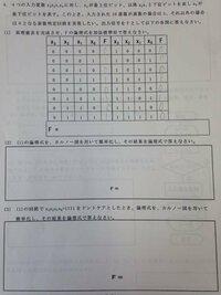 この問題の解き方を教えてください、真理値表と論理式、カルノー図の問題です 宜しくお願いします