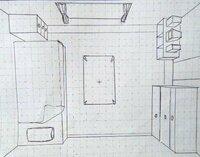 【一点透視図法 部屋 上から】  一点透視図法を使った部屋の描き方がわかりません。 下の画像のようなもののことです。 (もちろん私のものではありません) できれば図などを用いて説明していただけるととて...