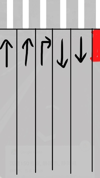 原付で画像の一番左の車線から右の赤いところの建物に入りたいのですがどのように入るのが正しいですか? 国道なので車通りはとても激しいです 初歩的な質問ですみません