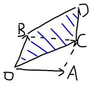 数学のベクトルの問題です。(OA,OB,OC,ODの上にはベクトルの矢印がついています)。 △OABにおいて、次の条件を満たす点Pの存在範囲を求めよ。 OP=sOA+(s+t)OB 0≦s≦1, 0≦t≦1  解答は OP=sOA+(s+t)OB=s(OA+OB)+tOB OA+OB=OCとして、図のようになり、 点Pの存在範囲は、線分OB,OCを隣り合う二辺とする平行四辺形の周...