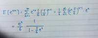 幾何分布のモーメント母関数の計算ですが、間違ってますか?分子のe^tが余計なんですが・・