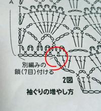 かぎ編みの編み図について。 写真の赤い丸で囲った黒い点は引き抜き編みですか? それか隣から別鎖がはじまっているのですが 引き抜き編みではなく別鎖がここからですという始まりの黒い点なのでしょうか。  もし引き抜き編みであれば 別鎖との付け方がわかりません。 それかもし別鎖の始まりですよ、という点であれば その上にある変わりピコット編みがブラーンとなってしまいます(^_^;)  初心者なのでさっ...