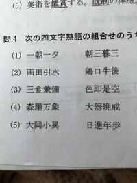 四字熟語の組み合わせとして正しいのはどれ?