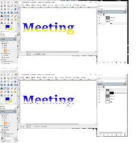 GIMPを使ってフォントをアメコミ風にしたく、以下のサイトを見ながら画像の編集をしているのですが上手くいきません。 http://marunanahoshi.hatenablog.com/entry/2015/05/18/200757  「4.ハーフトーンレイヤーを重ねる」までは恐らく上手くいっているのですが、「5.ハーフトーンに色をつける」で失敗してしまいます。 上記サイトの3の操作...