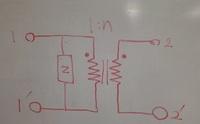 変成器のz行列について図の変成器のz行列の求め方がわかりません。 一次側に電流I1を流すとコイルとインピーダンスで電流が分かれて複雑になってしまう気がするのですが・・・。 答えは (z zn) (zn zn^2)です...