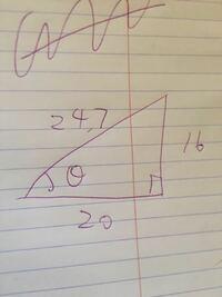 このθの出し方を教えて下さい Sin cos tanではなく角度で出したいです 関数電卓あります     ちなみに24.7  16 20 です