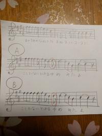 スパークルを楽譜化すると、下の画像のAとBのうちどちらが正しいと思いますか? 手書きの楽譜で見にくくてすみません。赤い丸の音符が、AとBの違うところです。