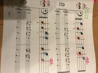 ヘ音記号の音符ですが、これはすべて左手で弾くのでしょうか?先生の書き込みにも左手とあるのですが、娘は下に伸びる音符を左手で、上に伸びる音符を右手で弾いてます。 本当にそうなの?って聞くと忘れたと言い...