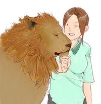 飼育員のお姉さんとライオンくんを描いたのですが、どうもしっくりきません。 評価とアドバイスをください!m(_ _)m