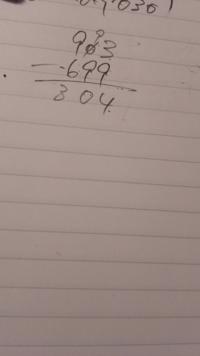 引き算ができなくなってしまいました。 助けてください、903-699は204なのですが 何度筆算しても304です。 どこが間違っているのかわからないです。 混乱してます。 この写真のどこが間違ってますか